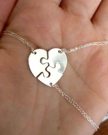 Puzzle Heart srebrny naszyjnik damski