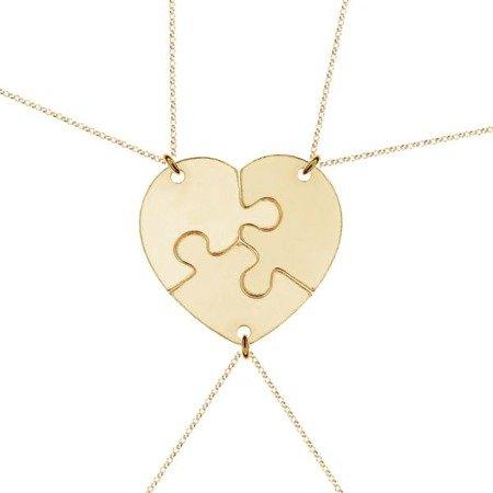 Puzzle Heart srebrny pozłacany naszyjnik damski