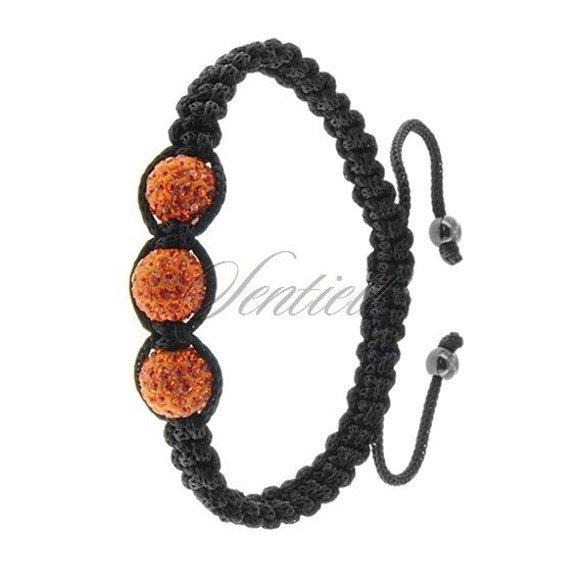Rope bracelet (925) - orange 3 disco balls