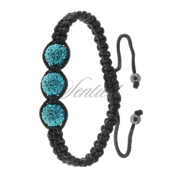 Rope bracelet (925) - turquoise 3 disco balls