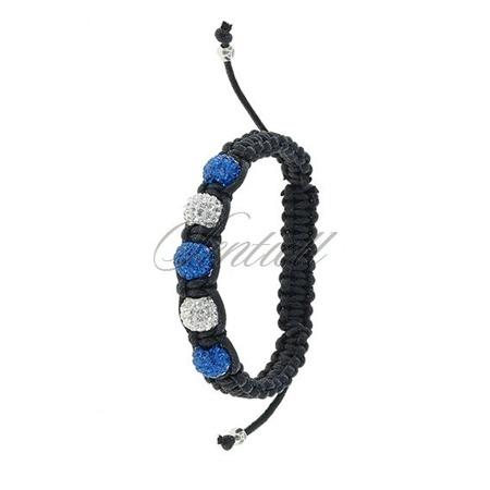 Rope bracelet (925) white & blue 5 disco balls classic
