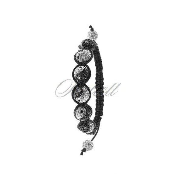 Rope bracelet (925) white with black pattern of ying yang