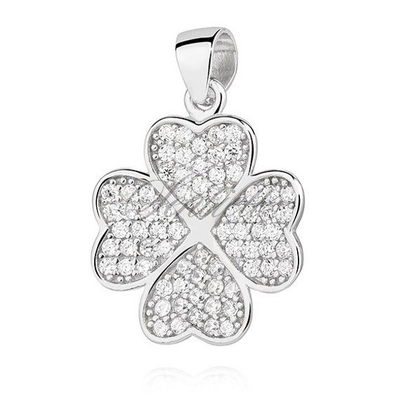 Silver (925) Clover pendant with zirconia