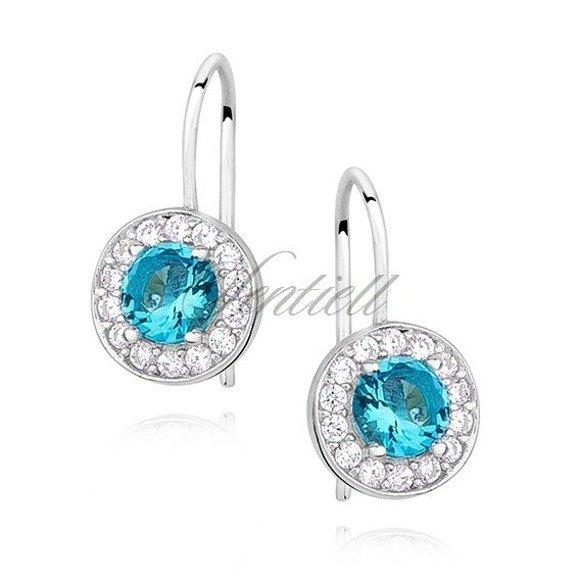 Silver (925) Earrings aquamarine colored zirconia