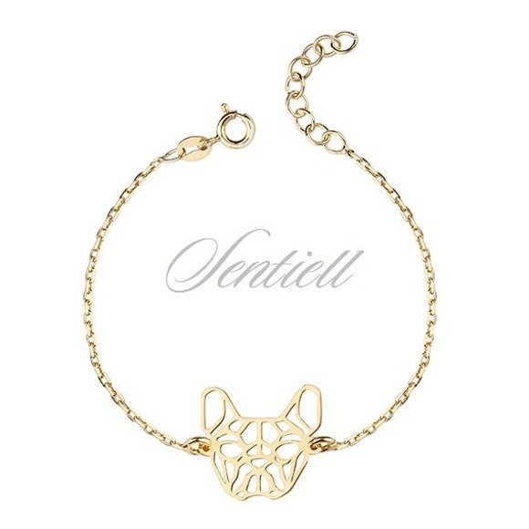 Silver (925) bracelet - Origami french bulldog, gold-plated