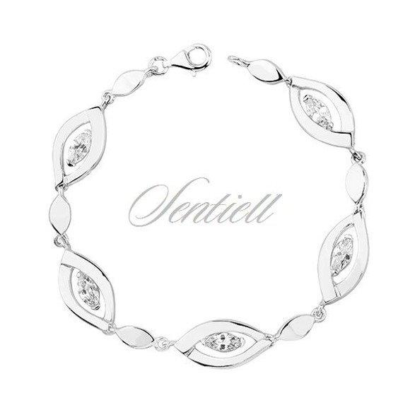 Silver (925) bracelet white zirconia