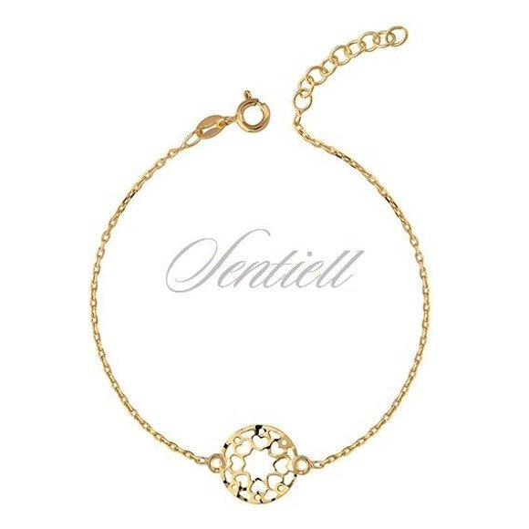 Silver (925) bracelet with open-work pendant - gold-plated hearts