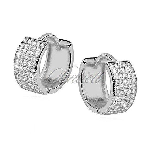 Silver (925) earrings hoop with five rows of zirconia