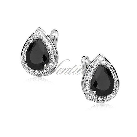 Silver (925) earrings with black zirconia