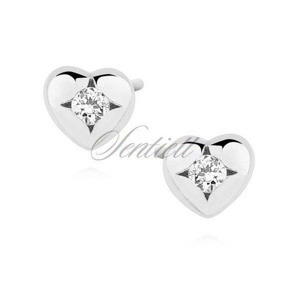 Silver (925) heart shape earrings with zirconia