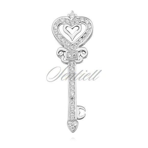 Silver (925) key pendant with zirconia