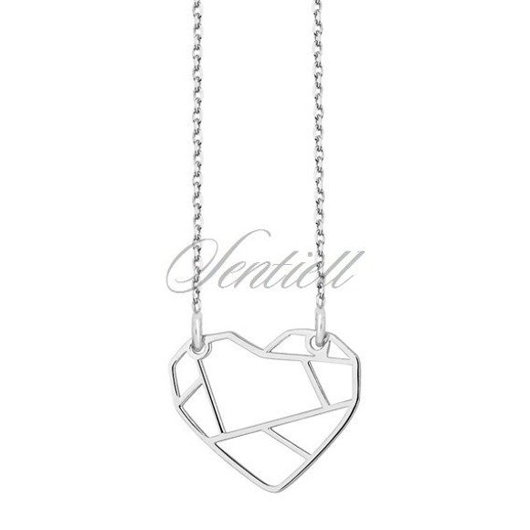 Silver (925) necklace - Origami heart