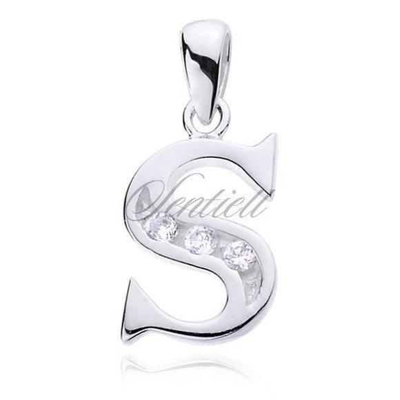 Silver (925) pendant white zirconia - letter S