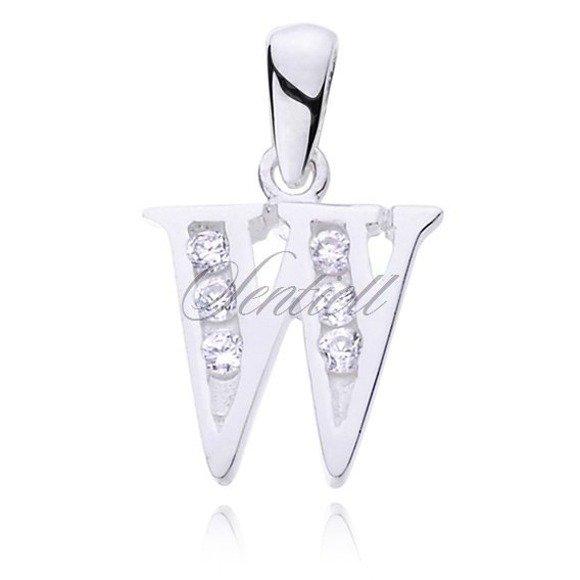 Silver (925) pendant white zirconia - letter W
