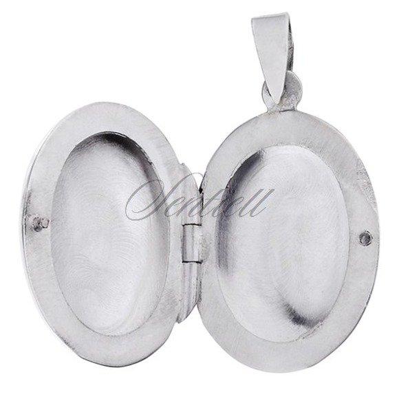 Silver (925) polished pendant - oval locket