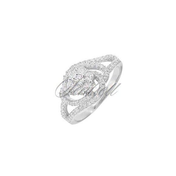 Silver (925) ring white zirconia rhodium plated