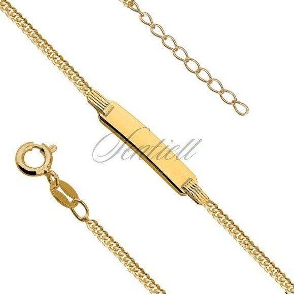 Silver gold-plated curb bracelet with a tag - adjusted length
