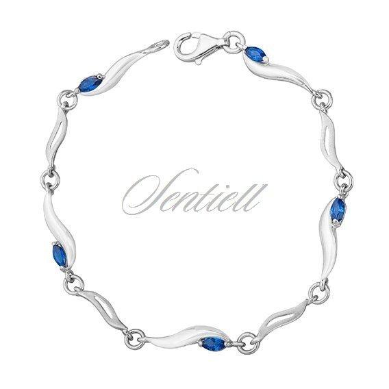 384a6995ec5fbe Srebrna ponadczasowa bransoletka pr.925 niebieskie cyrkonie Kliknij, aby  powiększyć