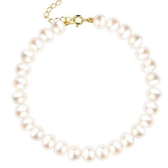 Bransoletka pozłacana z naturalnymi perłami srebro pr.925