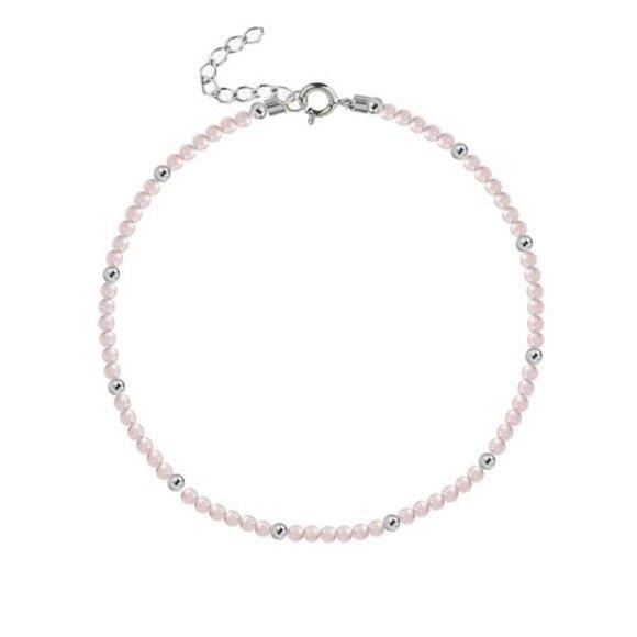 Bransoletka srebrna z naturalnego różowego kwarcu
