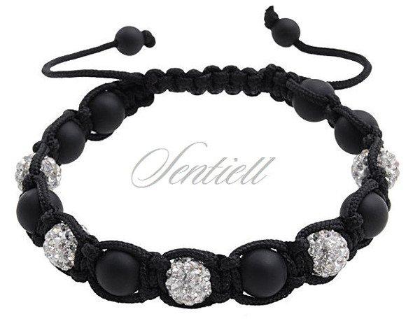 Bransoletka sznurkowa Crystal Beads - biała z matowym kamieniem