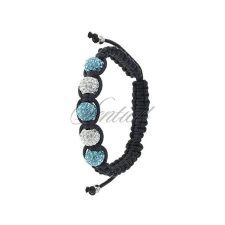 Bransoletka sznurkowa pr.925 Błękitno-biała 5 kulek klasyczna