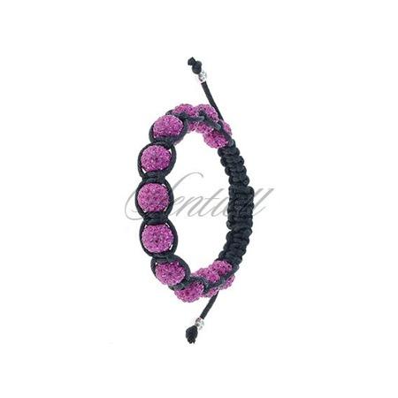 Bransoletka sznurkowa pr.925 Różowa 11 kulek