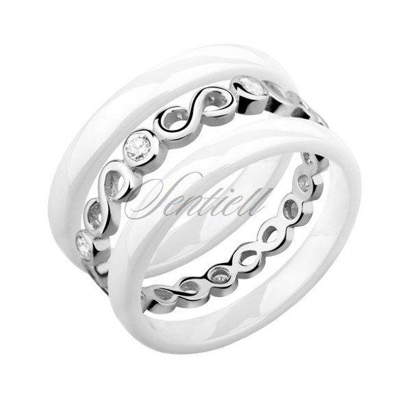 Dwa białe pierścionki ceramiczne i pierścionek srebrny z cyrkoniami - Nieskończoność