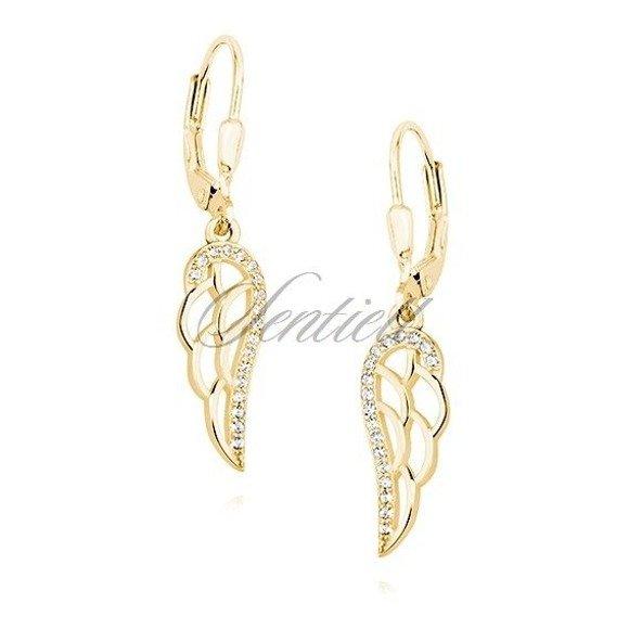 Kolczyki pozłacane wiszące eleganckie skrzydła z cyrkoniami bigiel angielski