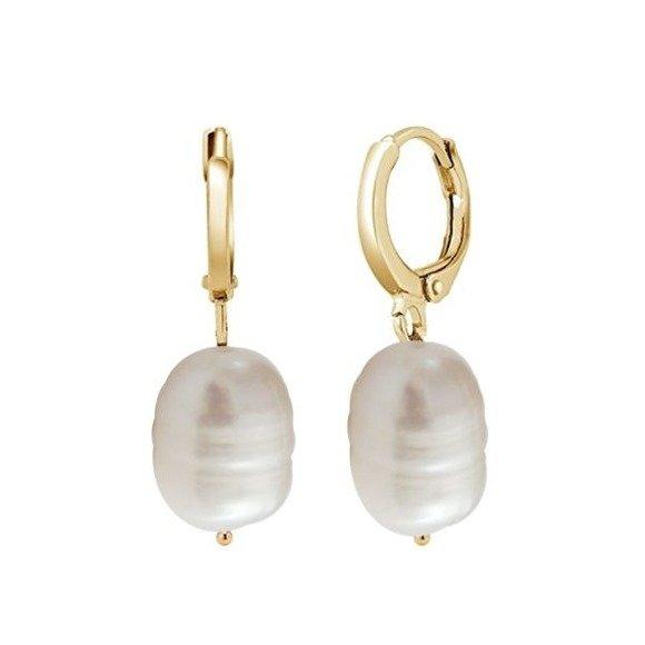 Kolczyki pozłacane z dużymi nieregularnymi perłami naturalnymi srebro 925