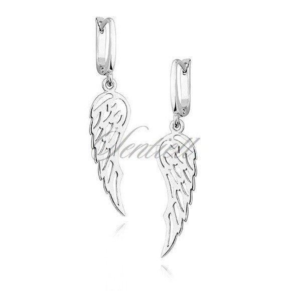 Kolczyki srebrne wiszące skrzydła srebro pr.925
