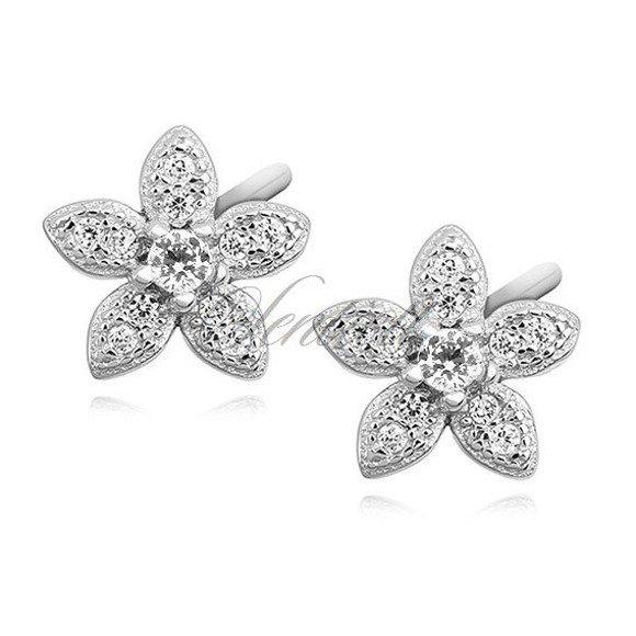 Kolczyki srebrne wkrętki niezapominajki z białą cyrkonią