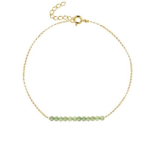 SIERPIEŃ - bransoletka pozłacana z oliwinem