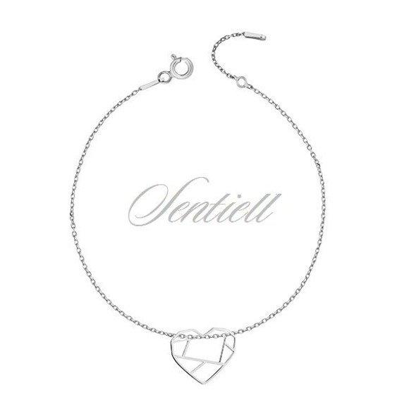 Srebrna bransoletka pr.925 - Origami serce
