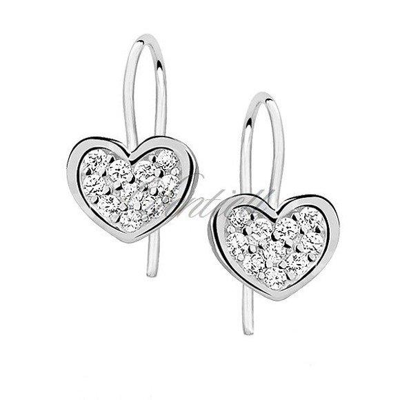 Srebrne kolczyki dla dziewczynki pr. 925 Cyrkonia microsetting serca