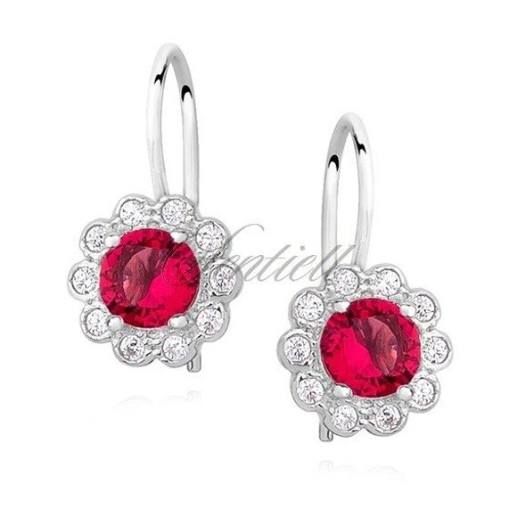 Srebrne kolczyki kwiatuszki dla dziewczynki pr 925 Cyrkonia rubinowa