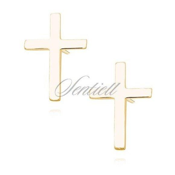 Srebrne kolczyki pr.925 krzyżyki pozłacane