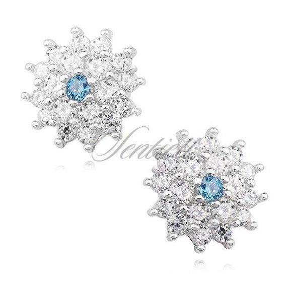 Kolczyki srebrne sztyfty kwiatuszki z niebieską cyrkonią
