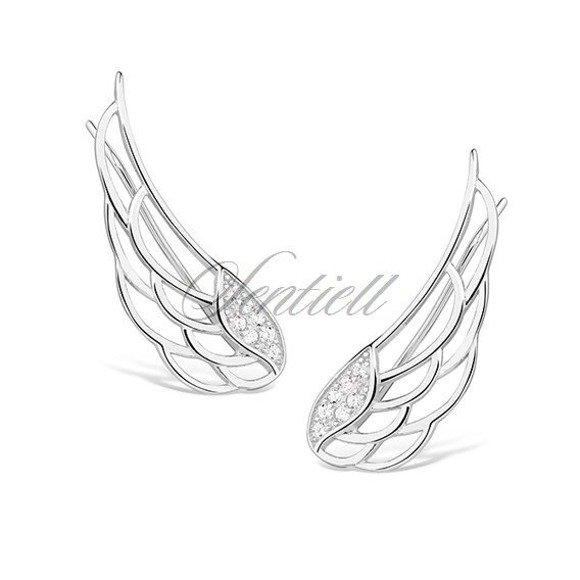 Kolczyki nausznice srebrne skrzydła anioła z cyrkoniami pr. 925