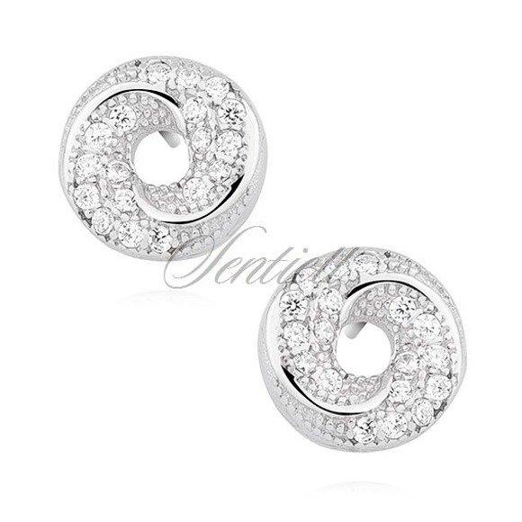 Srebrne okrągłe eleganckie kolczyki sztyfty pr.925 z cyrkoniami