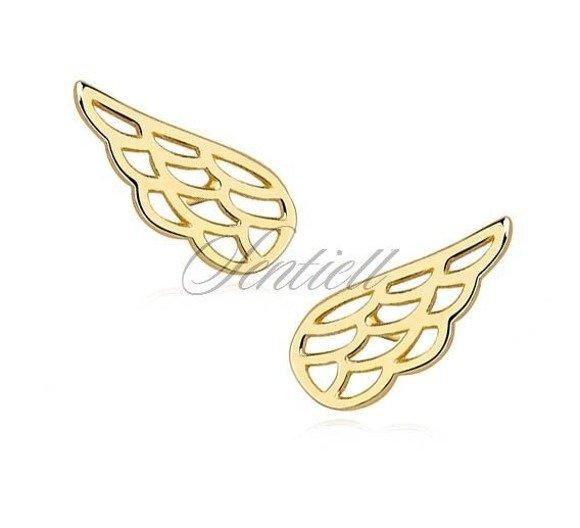Srebrne pr.925 kolczyki wkrętki skrzydła pozłacane