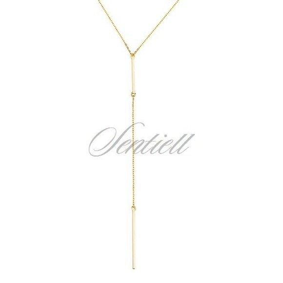 Srebrny długi minimalistyczny naszyjnik pr.925 podwójna blaszka bar pozłacany
