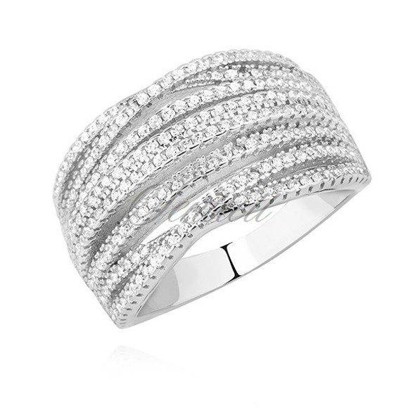 Srebrny masywny szeroki pierścionek pr.925 z białymi cyrkoniami