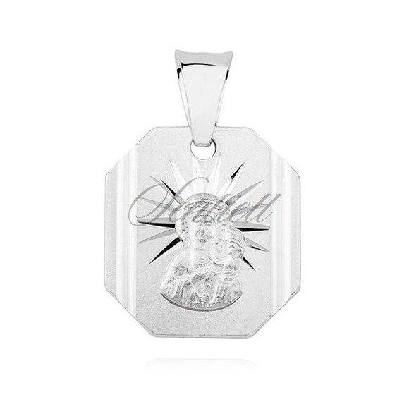 Srebrny klasyczny medalik męski Matka Boska Częstochowska