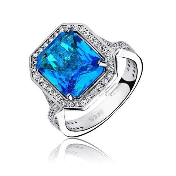 Srebrny modny elegancki pierścionek pr.925 z błękitną cyrkonią