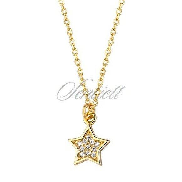 Srebrny naszyjnik pr.925 gwiazdka z cyrkoniami, pozłacane