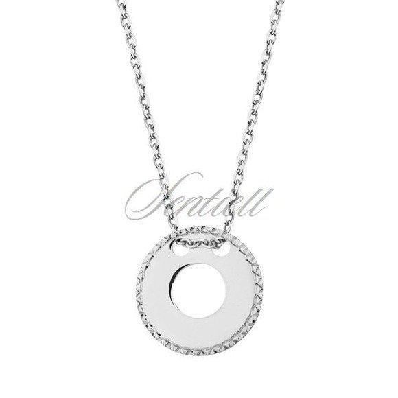 Srebrny naszyjnik pr.925 z diamentowaną okrągłą zawieszką