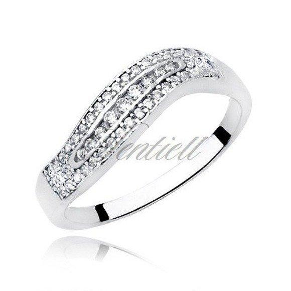 Srebrny pierścionek pr.925 Cyrkonia biała - fala