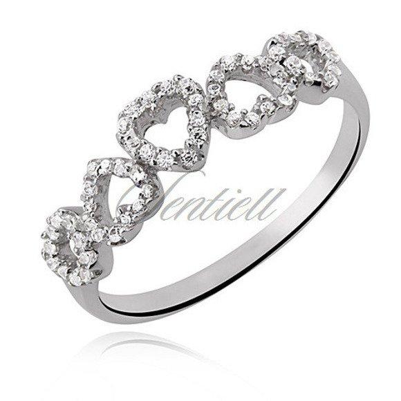 Srebrny pierścionek pr.925 Cyrkonia biała rodowany - serce