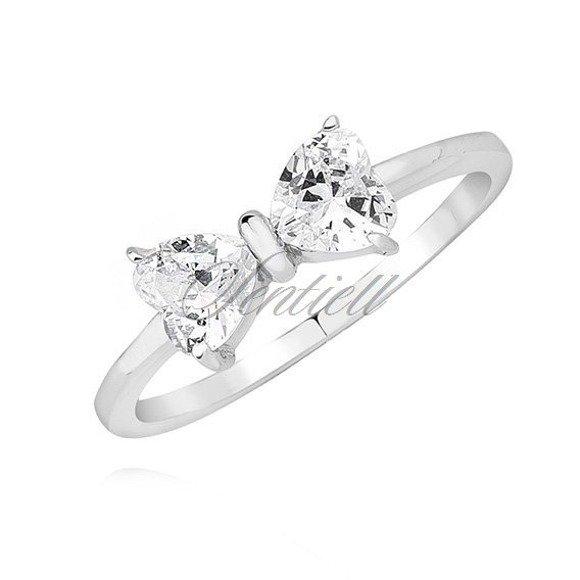 Srebrny pierścionek pr.925 kokardka z białą cyrkonią